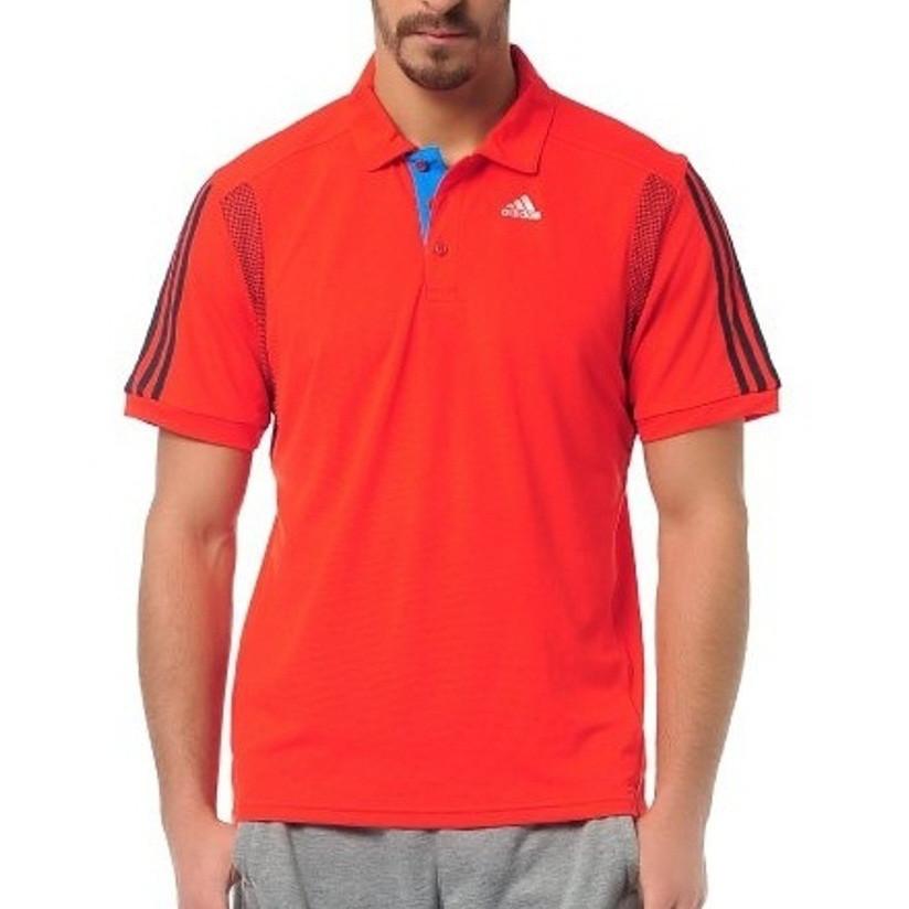Футболка поло спортивная мужская adidas CLTR Polo F49065 (красная, полиэстер, для тренировок, логотип адидас)