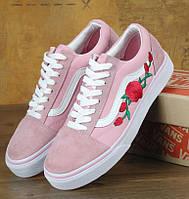 Кеды Vans Old School Roses Pink/white с розой. Живое фото (Реплика ААА+)