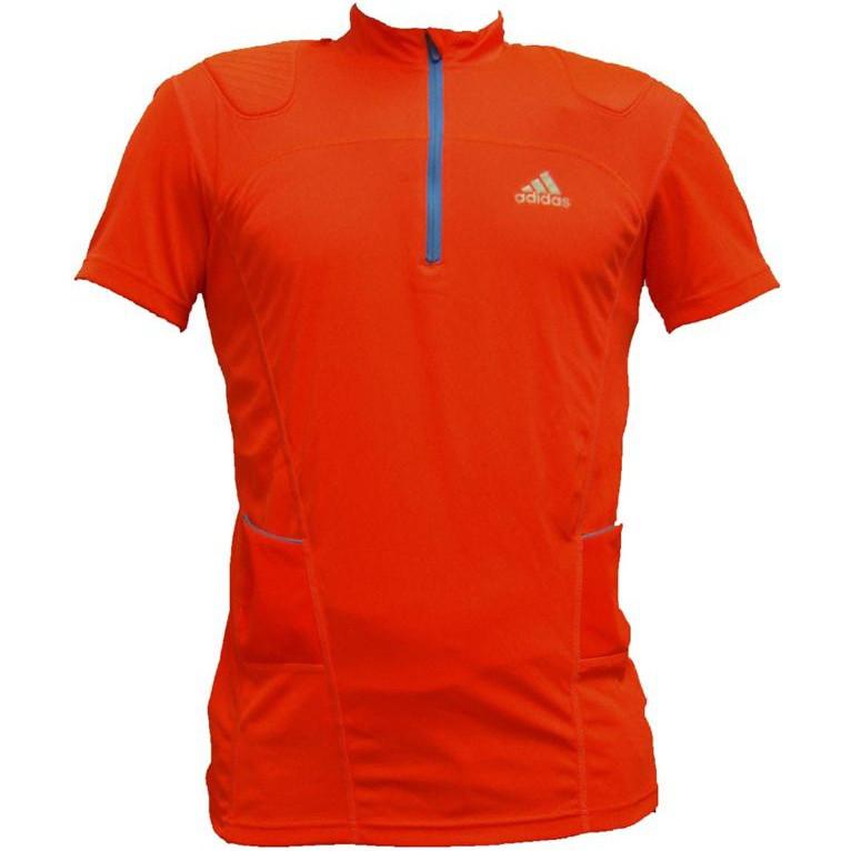 Футболка мужская для бега adidas ZIPPER shirt W40918 (оранжевая, молния 1/3, логотип адидас)