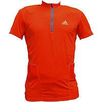 Футболка мужская для бега adidas ZIPPER shirt W40918 (оранжевая, молния 1/3, логотип адидас), фото 1