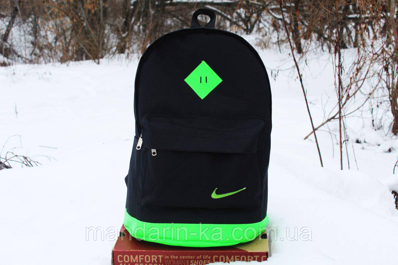 Рюкзак городской  Nike Найк  черно-салатовый  (реплика)