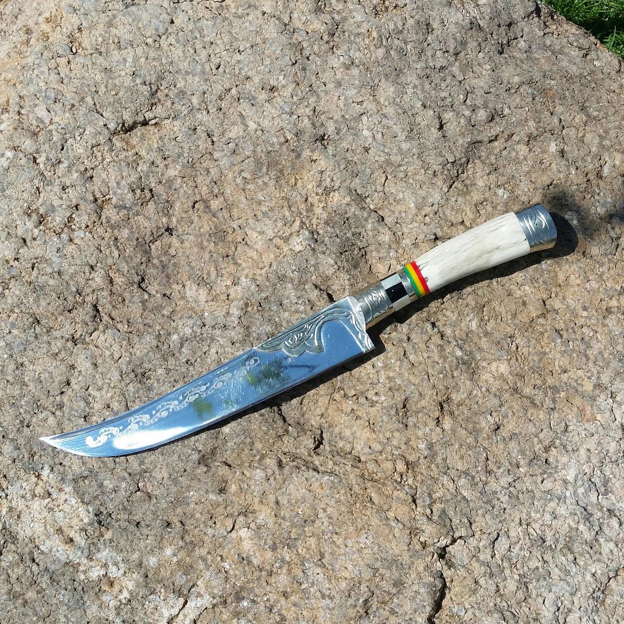 Узбекский нож с рукоятью из рога, инкрустация перламутром