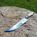 Узбекский нож с рукоятью из рога, инкрустация перламутром, фото 2