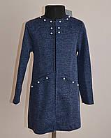 Детский кардиган или пиджак для девочек синего цвета, фото 1