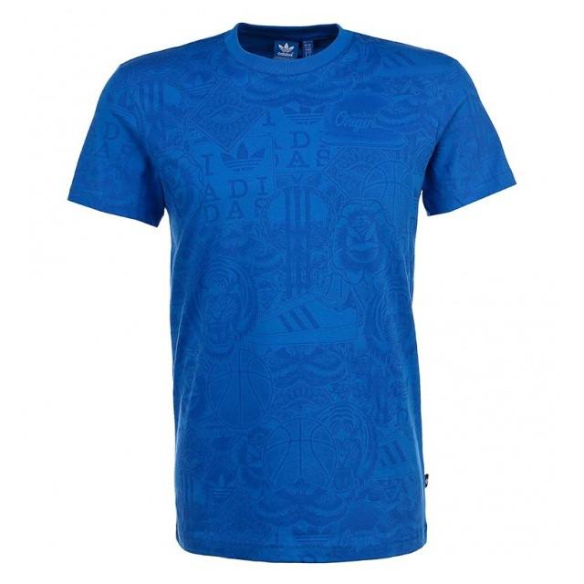 Футболка спортивная мужская adidas Allover Tee M S19087 (синяя, хлопок, повседневная, в стиле адидас)