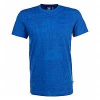 Футболка спортивная мужская adidas Allover Tee M S19087 (синяя, хлопок, повседневная, в стиле адидас), фото 1