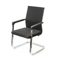 Кресло офисное на полозьях Бруно CH CF черного цвета из ткани