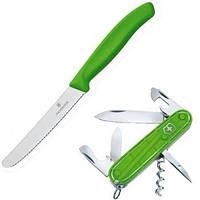 Набір ножів Викторинокс Victorinox Color Twins, Spartan +ніж кухонний Tomato&Sausage зелений 18901.L4