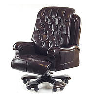 Кресло офисное Цезарь EX RL дарк браун из натуральной кожи
