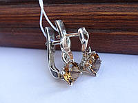 Срібні сережки з золотою пластиною і раухтопазом, фото 1