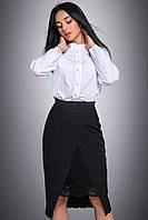 Оригинальная классическая юбка с красивым разрезом с кружевом 44-50 размеры, фото 1