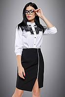 Классическая черная юбка с молнией с разрезом 44-50 размеры, фото 1
