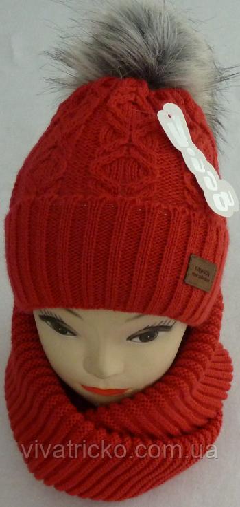 Комплект шапка с бубоном и шарф зимний м 6051, разные цвета