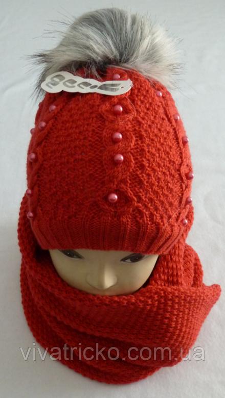 Комплект шапка з бубоном і хомут зимовий, різні кольори