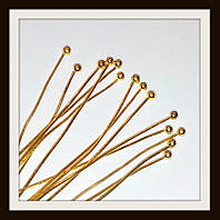 Пин с шариком золото 10 000 шт (толщина 0,6 мм, длина 2,8 см, диаметр шарика 2 мм)