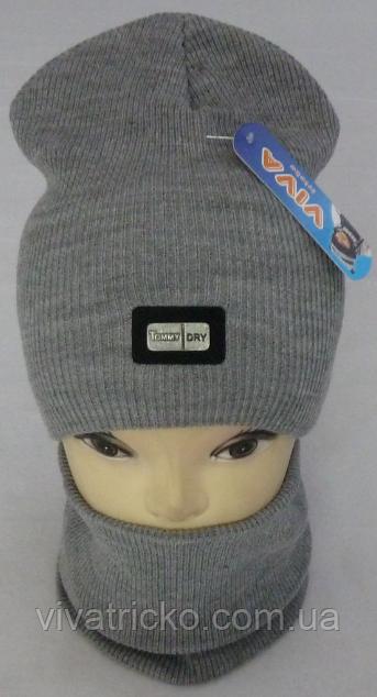 Комплект шапка домик и баф зимний, разные цвета