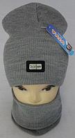 М 6055 Комплект шапка домик и баф зимний, разные цвета, фото 1
