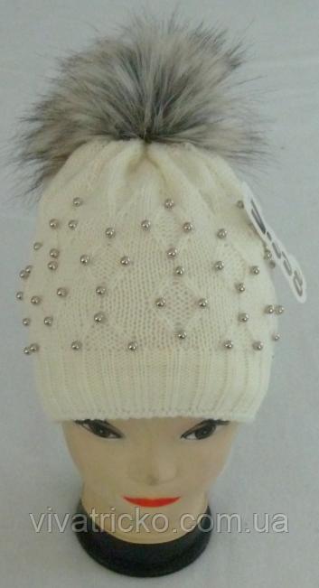 Шапка вязаная для девочки м 6056, разные цвета
