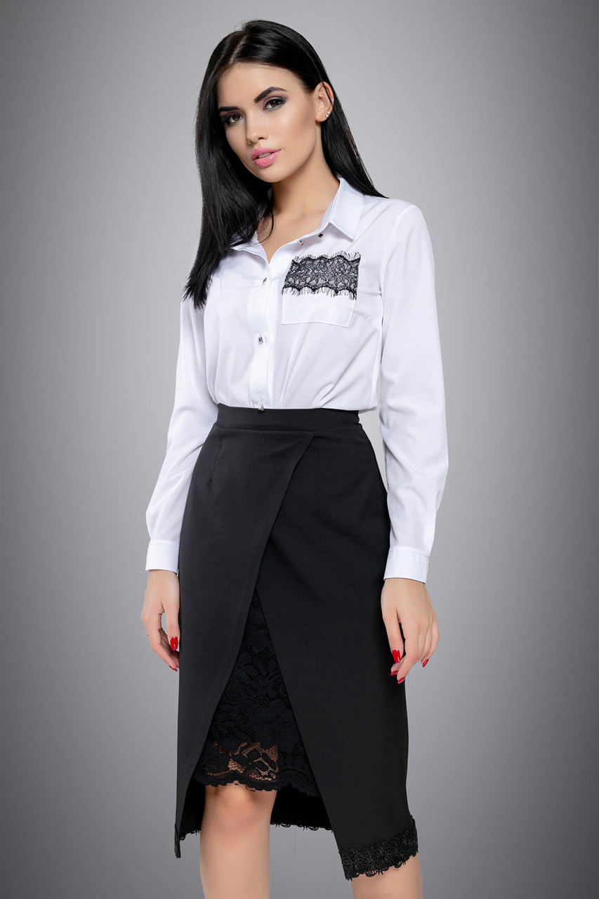 010e6d747b7 Классическая белая блузка с кружевом 44-50 размера  продажа