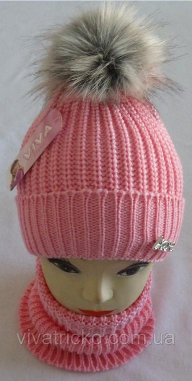 М 6060 Комплект шапка вязаная с бубоном и манишка зимняя, разные цвета
