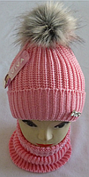 М 6060 Комплект шапка вязаная с бубоном и манишка зимняя, разные цвета, фото 1