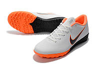 Футбольные сороконожки Nike Mercurial VaporX XII Academy TF White/Metallic Cool Grey/Total Orange, фото 1