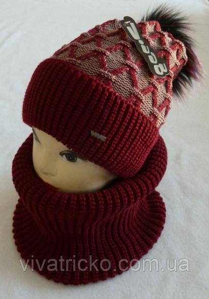 Комплект шапка с бубоном и баф зимний, разные цвета