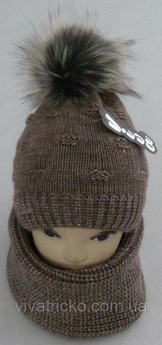 Комплект шапка с бубоном и баф зимний м 6064, разные цвета