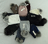 Комплект шапка с бубоном и баф зимний м 6064, разные цвета, фото 4