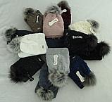 Комплект шапка з бубоном і баф зимовий м 6064, різні кольори, фото 4