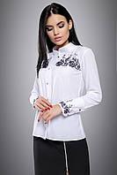 Красива біла блузка з чорною вишивкою 44-50 розміру, фото 1