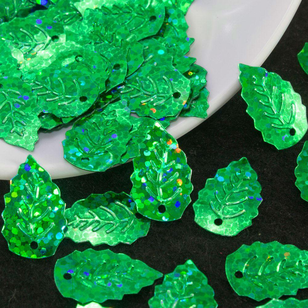 """(20гр ≈ 370 шт) Пайетки """"Листики мал"""" 19х12мм ( с отвертием) Цвет - зеленый (голограмма)"""