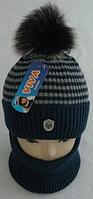 Комплект шапка с бубоном и шарф зимний, разные цвета