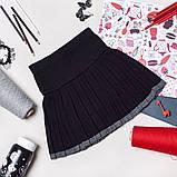 Чорна В'язана Шкільна Спідниця в складку для дівчаток 128-152р, фото 4