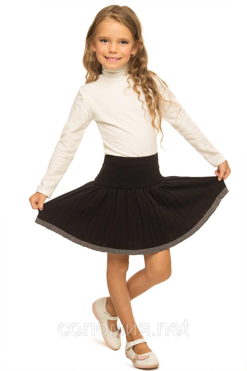 Чорна В'язана Шкільна Спідниця в складку для дівчаток 128-152р