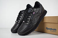 Мужские кроссовки Rеebok Classic 1983 черные полностью (с флажком) Топ Реплика Хорошего качества, фото 1