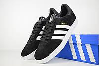 Мужские кроссовки Adidas Gazelle черные с белым/черный язык Топ Реплика Хорошего качества, фото 1