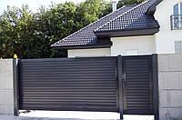 Уличные откатные ворота из ламелей