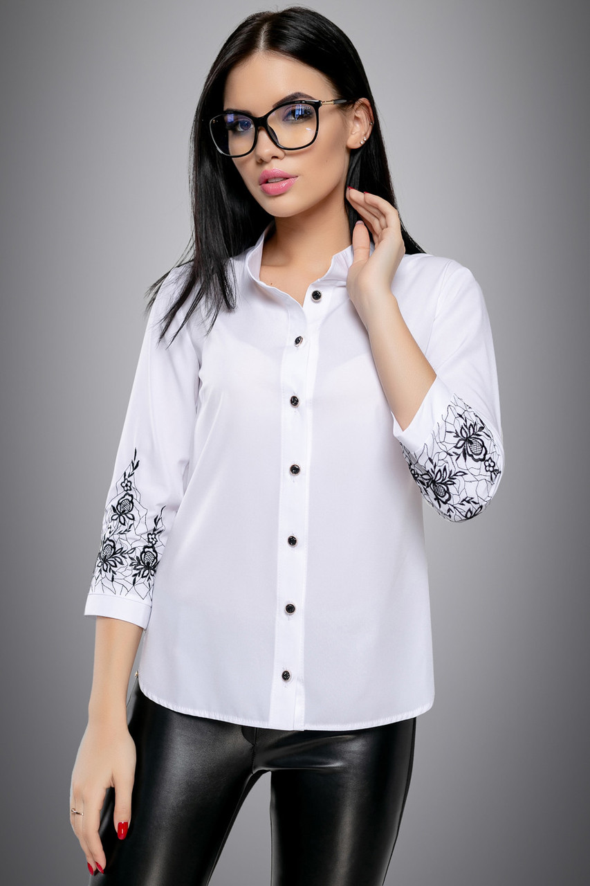 2f725a265ff Модная классическая белая блузка с вышивкой и рукавом 3 4 46-52 размера