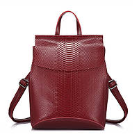 Рюкзак сумка трансформер женский кожаный с тиснением под рептилию (красный), фото 1