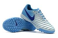 Футбольные сороконожки Nike Tiempo Ligera TF White/Gamma Blue/Glacier Blue, фото 1