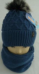 Комплект шапка с бубоном и хомут зимний м 6080 р 3-12, разные цвета