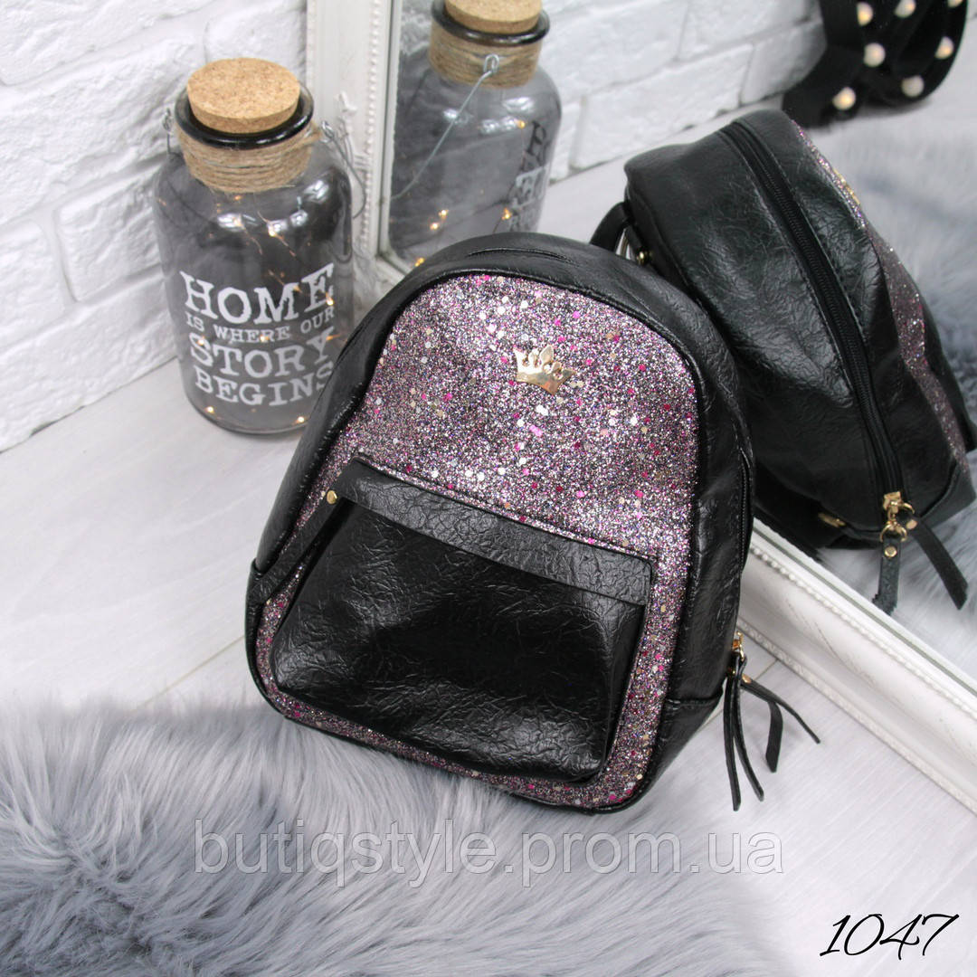 Женский черный рюкзак Bless  эко - кожа + сахар