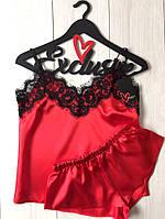 Красный атласный комплект для дома шорты и майка