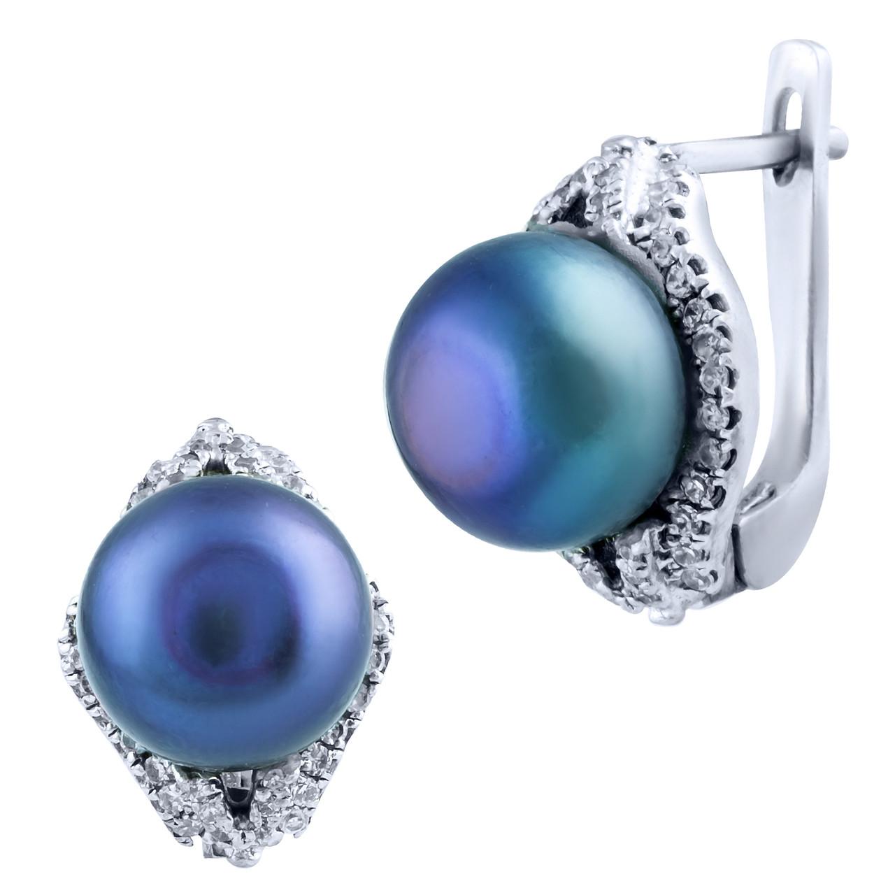 c2232b6deb95 Родированые серебряные серьги 925 пробы с натуральным жемчугом - Fashion  Jewelry в Киеве