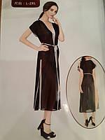 Длинный пляжный халат Контраст 5016 черный на размеры 44-52.