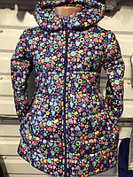 Демисезонная детская куртка для девочки Бантик 3-7 лет Радость темно-синий