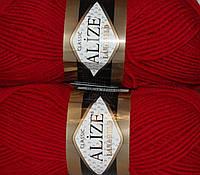 Пряжа нитки для вязания Lanagold полушерсть красный