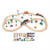 Детская железная дорога из дерева Viga Toys, 49 деталей