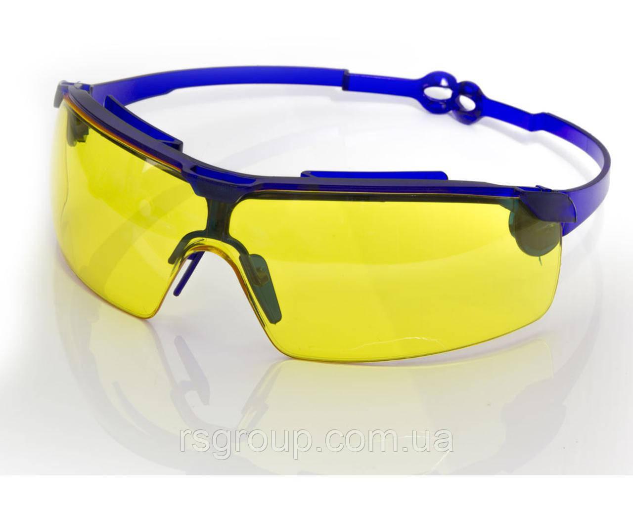 Очки жёлтые поворотные удлинённые дужки, стекло поликарбонат VITA